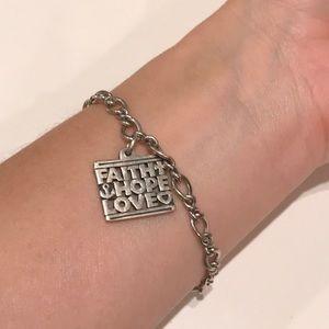 James Avery Faith Hope & Love Charm bracelet